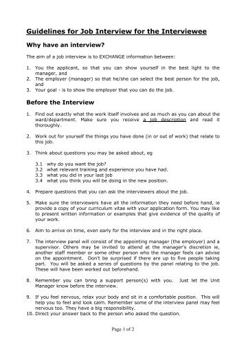 Guidelines for Job Interview for the Interviewee