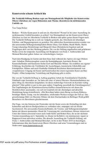 Medienbericht (PDF) - Kunstverein Oberer Zürichsee