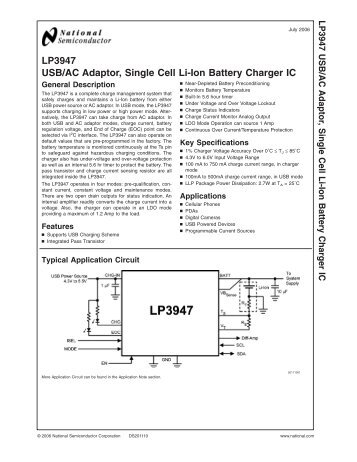 LP3947 USB/AC Adaptor, Single Cell Li-Ion Battery ... - Farnell