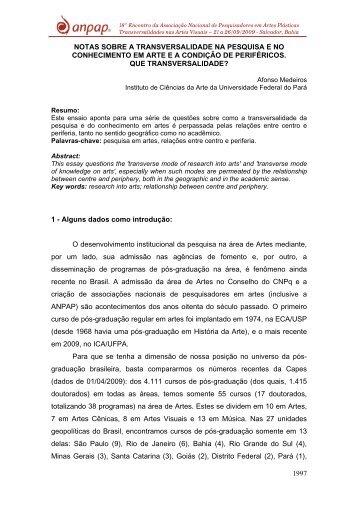 notas sobre a transversalidade na pesquisa e no ... - Anpap