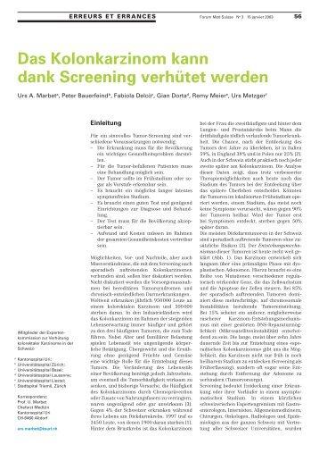 Das Kolonkarzinom kann dank Screening verhütet werden - Swiss ...