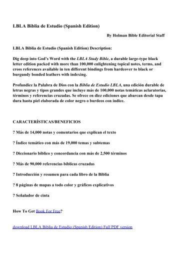 LBLA Biblia de Estudio (Spanish Edition) - PDF eBooks Free ...