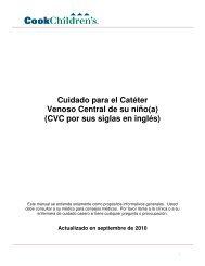 Cuidado para el Catéter Venoso Central de su niño(a) (CVC por sus ...