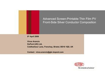 Advanced Screen Printable Thin Film PV Front-Side Silver ... - DuPont