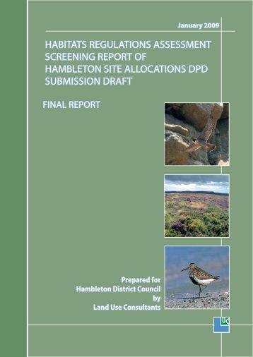 habitats regulations assessment screening report of hambleton site ...