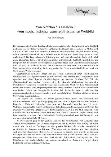 Von Newton bis Einstein_von der Mechanik zur ... - Kurt Bangert.de