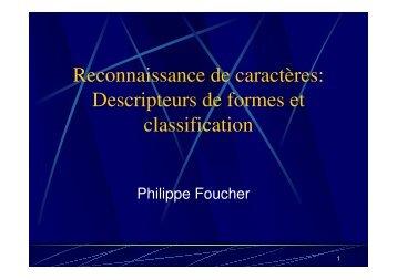 Reconnaissance de caractères: Descripteurs de ... - Université Paris 8