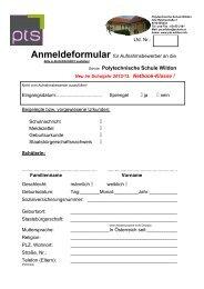Anmeldeformular - Polytechnische Schule Wildon