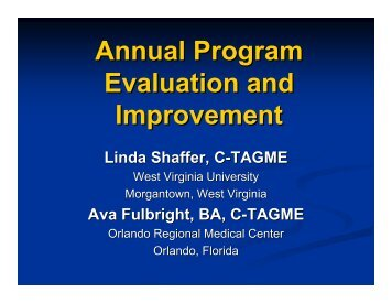 Annual Program Evaluation and Improvement - Association of ...