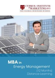 MBA Energy Management - The Cyprus Institute of Marketing