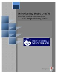 Basic Navigation Training - The University of New Orleans ...