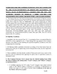 guidelines for the common entrance test 2011 conducted by ... - Sikkim