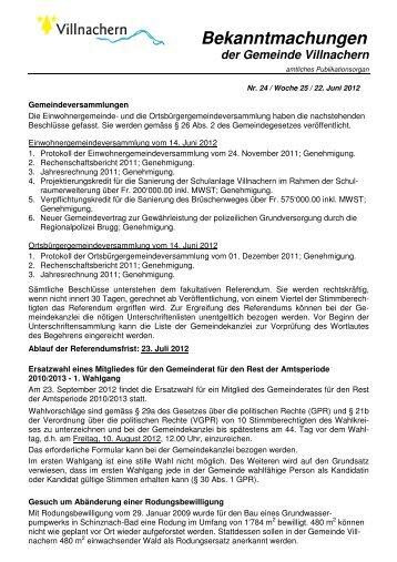 Nr. 24 / Woche 25 / 22. Juni 2012 - Gemeinde Villnachern