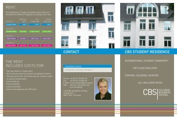 Flyer CBS Student residence - Cologne Business School