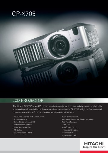 CP-X705 Specs (pdf) - LCD and DLP Projectors