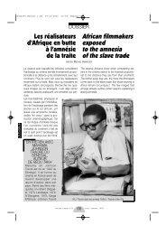 Les réalisateurs d'Afrique en butte avec l'amnésie de la ... - Africultures
