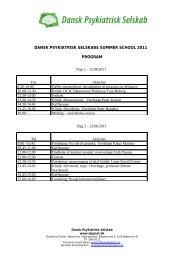 dansk psykiatrisk selskabs summer school 2011 program