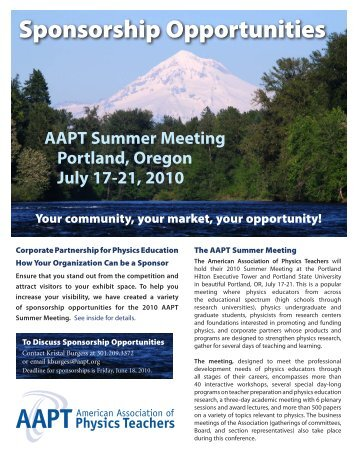 Sponsorship Opportunities - American Association of Physics ...