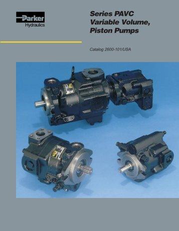 Series PAVC Variable Volume, Piston Pumps