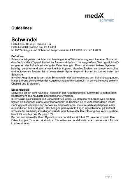 Guidelines Schwindel - mediX schweiz