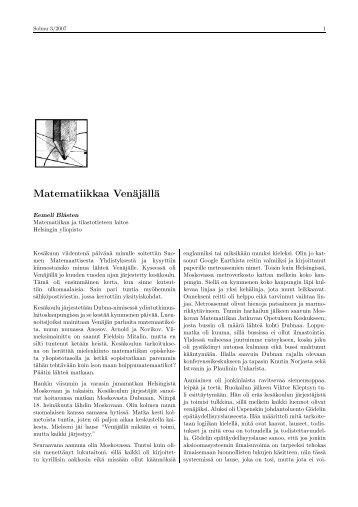 Matematiikkaa Venäjällä