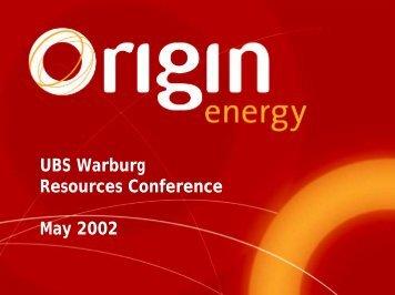 Presentation to the Investment Community - Origin Energy