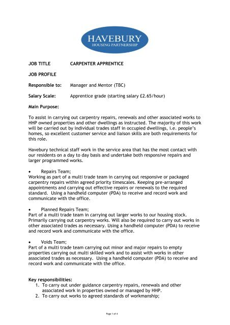 JOB TITLE CARPENTER APPRENTICE JOB PROFILE Responsible to