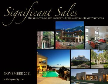 Signiicant Sales - the Members - Sotheby's International Realty