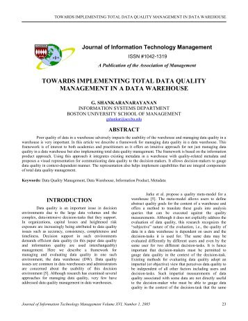 towards implementing total data quality management in ... - AoM/IAoM