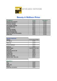 Beauty & Wellness Prices - Club Magic Life