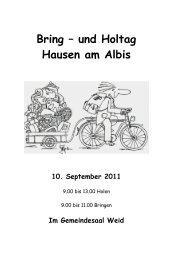 Bring – und Holtag Hausen am Albis - Gemeinde Hausen am Albis