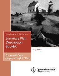 Summary Plan Description Booklet