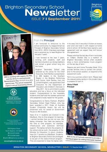 Newsletter September 2011 - Brighton Secondary School