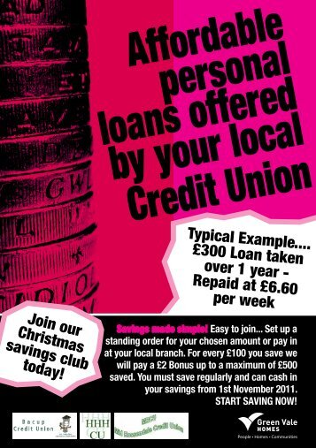 Affordable personal loans offered by your local Credit Union