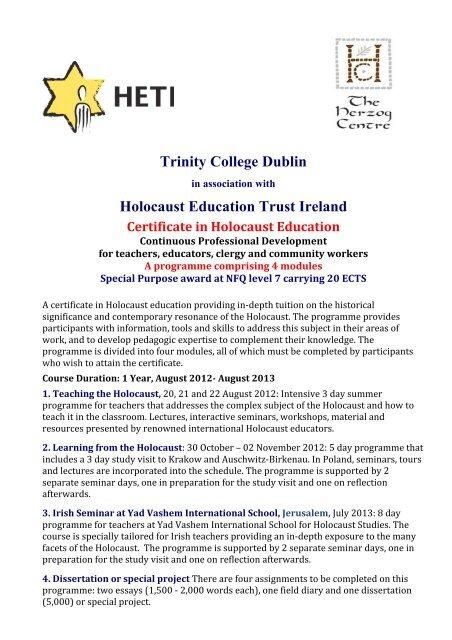 Trinity College Dublin - Holocaust Education Trust of Ireland
