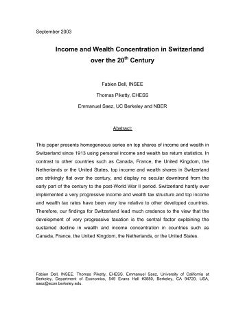 Income and Wealth Concentration in Switzerland ... - Thomas Piketty