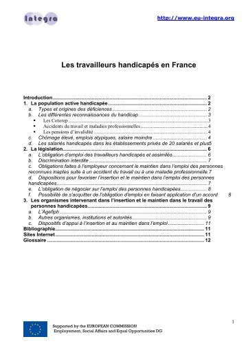 Les travailleurs handicapés en France - Eu-integra.org