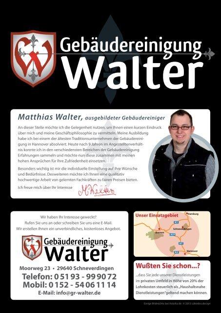 Flyer Gebäudereinigung Walter Walter Gebäudereinigung