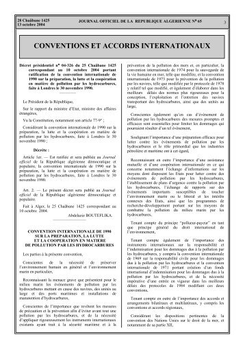 Ratification de la convention internation de 1990 sur la préparation ...
