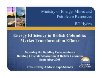 Energy Efficiency - Building Officials' Association of BC