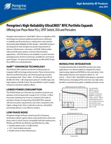 Sell Sheet: High Reliability RF Products - Peregrine Semiconductor