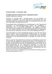 Presseinformation – 07. November 2006 primeMail präsentiert ...