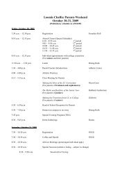 Parents Weekend Preliminary Schedule - The Loomis Chaffee School