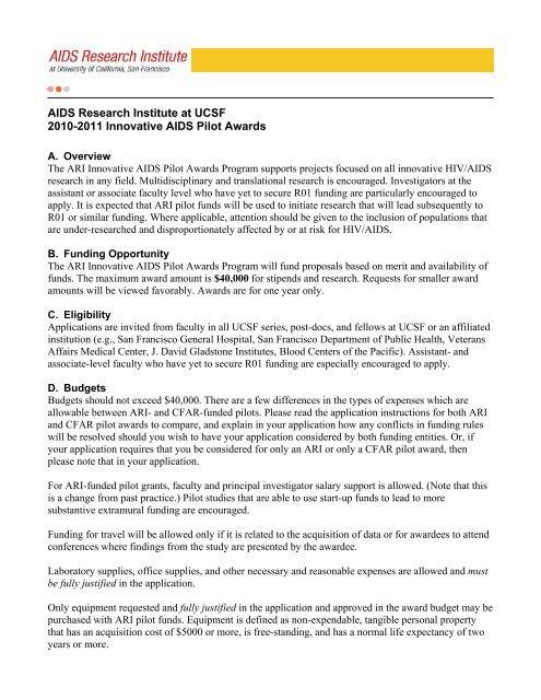 UCSF Innovative AIDS Pilot Awards Program 2005-06 Call for