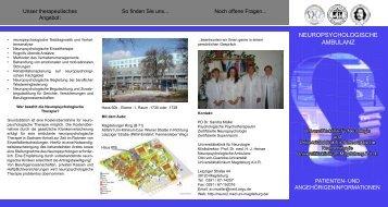 NEUROPSYCHOLOGISCHE AMBULANZ - Klinik