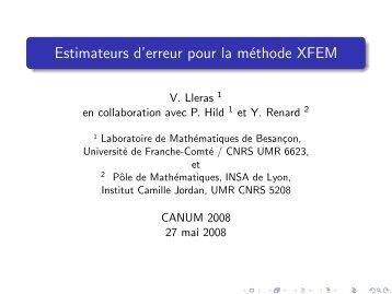 Estimateurs d'erreur pour la méthode XFEM - SMAI
