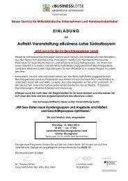 EINLADUNG Auftakt-Veranstaltung eBusiness-Lotse ... - WFG-BGL