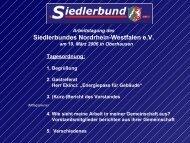 3. (Kurz-)Bericht des Vorstandes - beim Siedlerbund-NRW