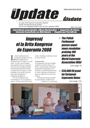 Ĝisdate 42, julio-septembro 2008 - Esperanto Association of Britain