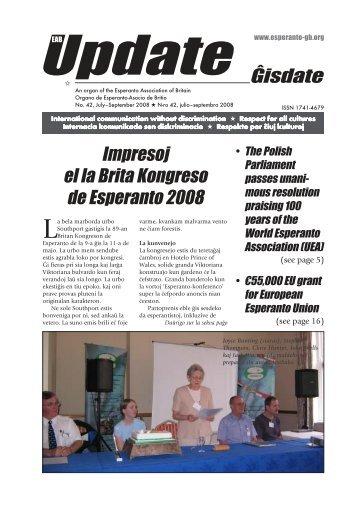 Ĝisdate 42, julio-septembro 2008 - Esperanto Association of Britain
